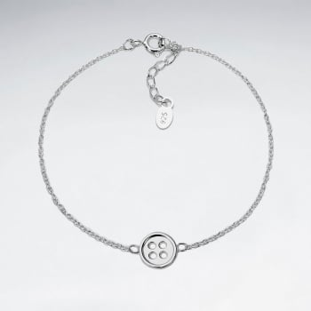 Sterling Silver Buttom Charm Adjustable Chain Bracelet