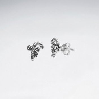 Sterling Silver Candy Cane & Ribbon Stud Earrings