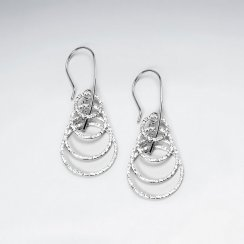 Sterling Silver Cascade Hammered Circle Dangle Earrings