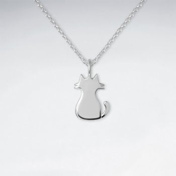 Sterling Silver Cat Silhouette Necklace