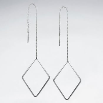 Sterling Silver Chain Dangle Diamond Shaped Threader Earrings
