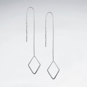 Sterling Silver Chain Dangle Diamond-Shaped Threader Earrings