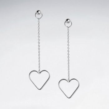 Sterling Silver Chain Stud Open Heart Dangle Earrings