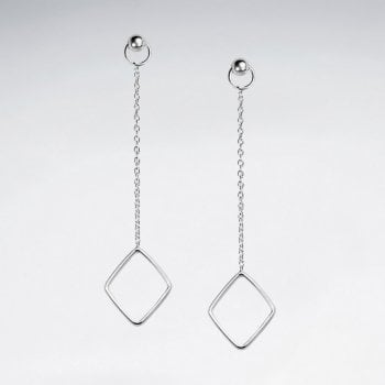 Sterling Silver Chain Stud Openwork Marquis Dangle Earrings