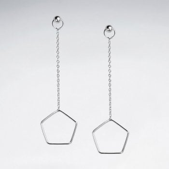 Sterling Silver Chain Stud Openwork Pentagon Shape Dangle Earrings