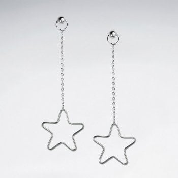 Sterling Silver Chain Stud Openwork Star Silhouette Dangle Earrings
