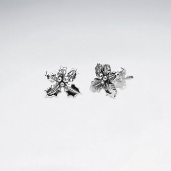 Sterling Silver Christmas Holly Stud Earrings