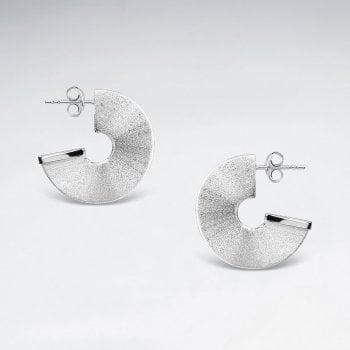 Sterling Silver Chunky Half Disc Hoop Stud Earrings