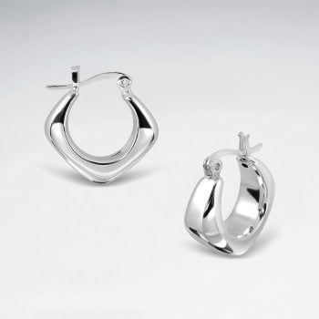 Sterling Silver Chunky Hoop Earrings with Angular Curvature