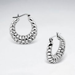 Sterling Silver Chunky Hoop Earrings with Ribbed Contour