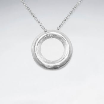 Sterling Silver Chunky Open Work Circle Pendant