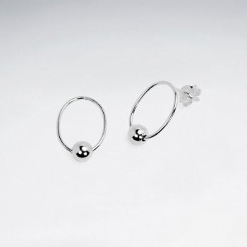 Sterling Silver Circle Ball Stud Earrings