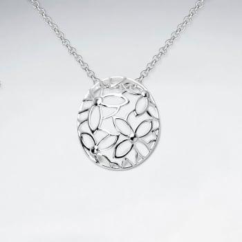 Sterling Silver Circle Filigree Flower Pendant