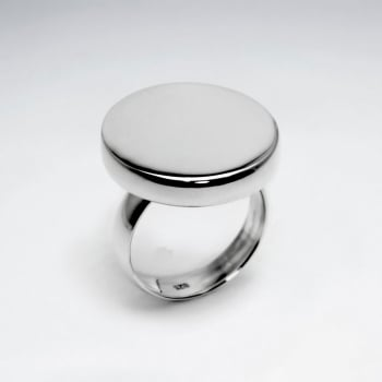 Sterling  Silver Circle Flat Surface  Ring