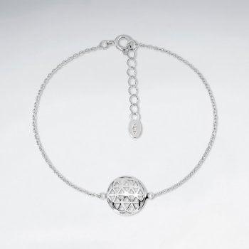 Sterling Silver Circle Flower of Life Charm Bracelet
