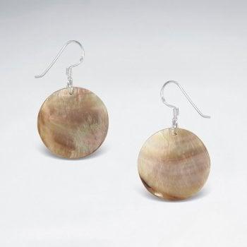 Sterling Silver Circle Pearl Hook Earrings