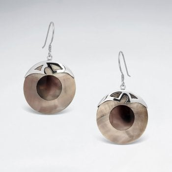 Sterling Silver Circle Shell Earrings