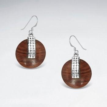 Sterling Silver Circle Wood Drop Earrings