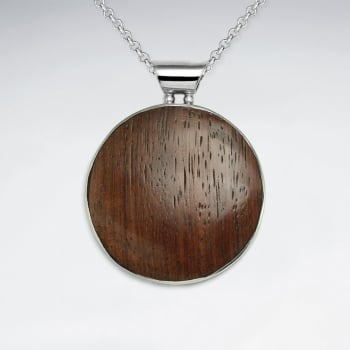 Sterling Silver Circle Wood Pendant