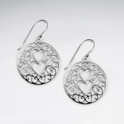 Sterling Silver Circular Filigree Double Cut Out Hearts Dangle Hook Earrings