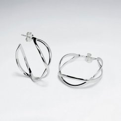 Sterling Silver Circular Twisted Intertwined Hoop Stud Earrings