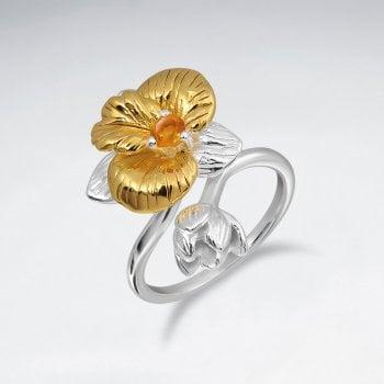 Sterling Silver Citrine Gemstone Flower Rings