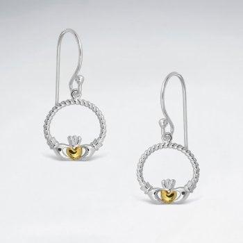 Sterling Silver Claddagh Hook Earrings
