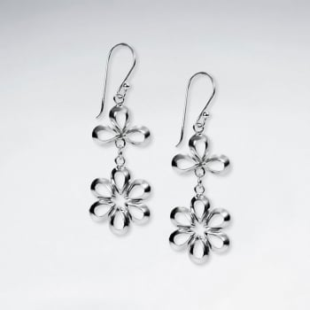 Sterling Silver Classic Openwork Flower Bloom Earrings