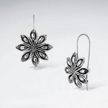 Sterling Silver Clematis Flower Hook Earrings