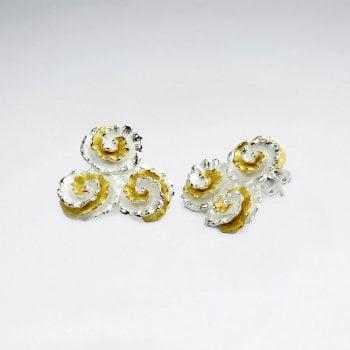Sterling Silver Cluster 2-Tone Silver Earrings