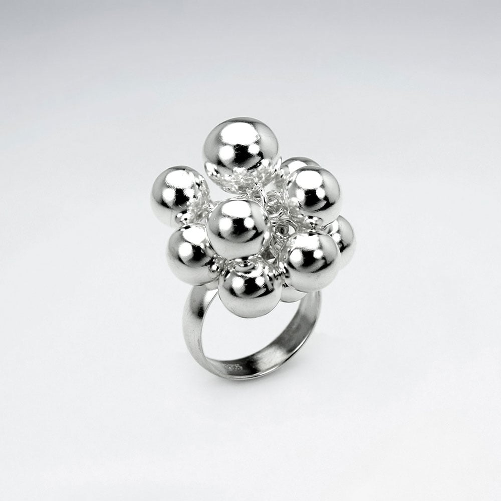 Sterling Silver Cluster Ball Design Ring