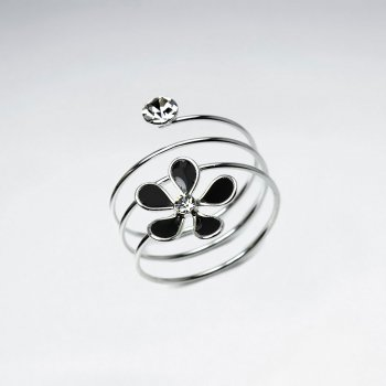 Sterling Silver Coil Wrap Enamel Flower Ring