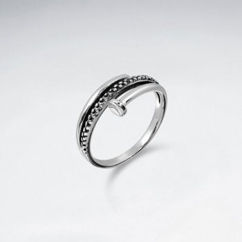 Sterling Silver Coiled Nail Ring with Ball Stud Motif