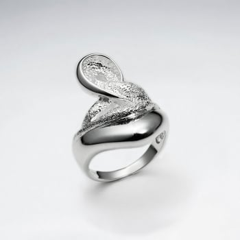 Sterling Silver Contem porary With Texture Design Ring