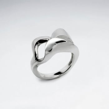 Sterling  Silver  Contemporary Curve Design Ring