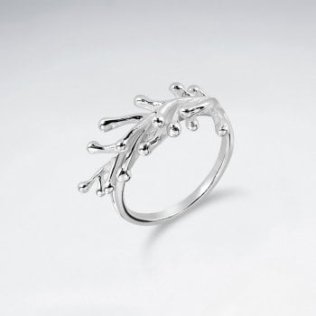 Sterling Silver Coral Branch Ring
