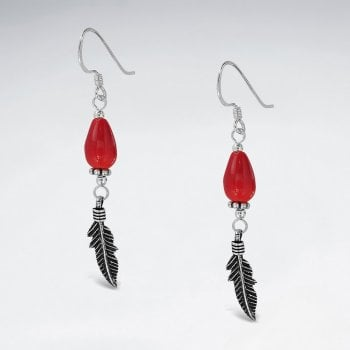 Sterling Silver Coral Feather Dangle Hook Earrings