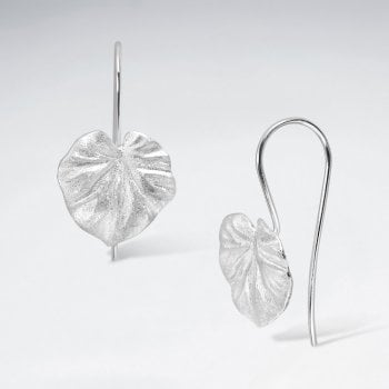 Sterling Silver Cordate Leaf Hook Earrings