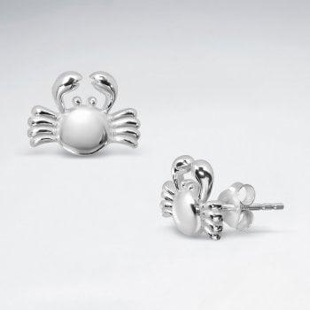 Sterling Silver Crab Stud Earrings