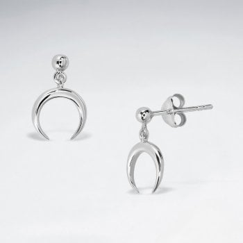 Sterling Silver Crescent Stud Dangle Earrings