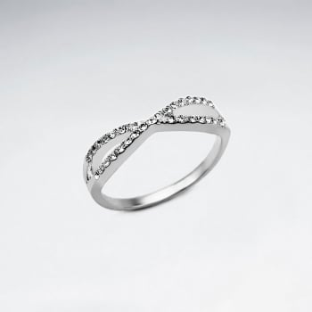 Sterling Silver Criss-Cross With Crystal Ring