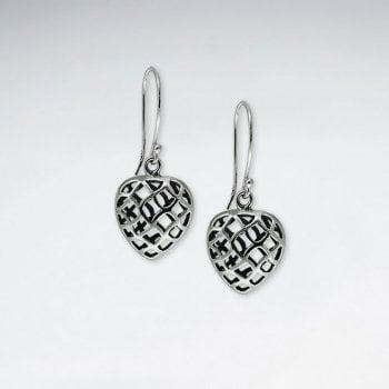 Sterling Silver Crisscross Openwork Dimensional Heart Earrings