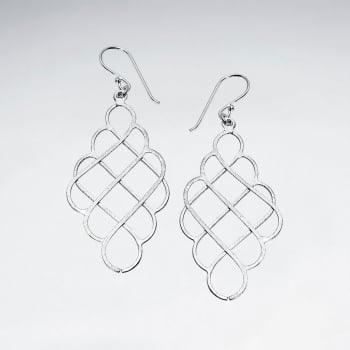 Sterling Silver Crisscross Openwork Pattern Matte Dangle Hook Earrings