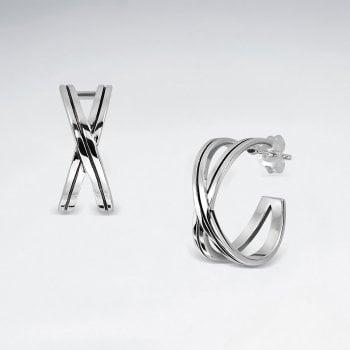 """Sterling Silver Crisscross """"X"""" Earrings"""