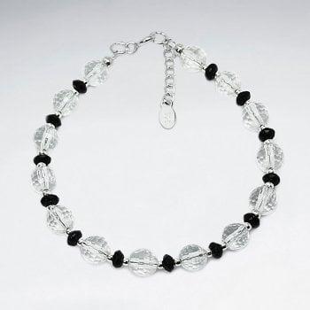 Sterling Silver Crystal Bead Bracelet