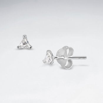 Sterling Silver Cubic Ziconia Triangle Stud Earrings