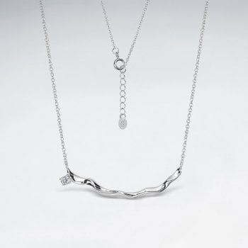 Sterling Silver Cubic Zirconia Curved Bar Necklace