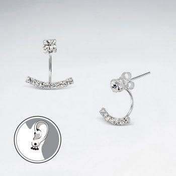 Sterling Silver Cubic Zirconia Ear Jacket Earrings