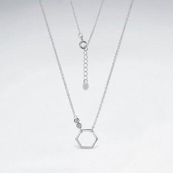 Sterling Silver Cubic Zirconia Hexagon Necklace