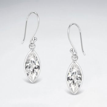 Sterling Silver Cubic Zirconia Marquise Dangle Earrings